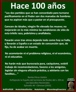 Hace 100 años. Benito Pérez Galdós